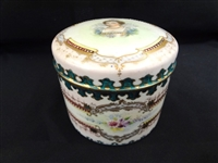 Sevres Style Hand Painted and Enameled Lidded Powder Jar: