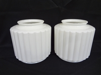 Pair Art Deco Tiered Milk Glass Ribbed Lamp Shades