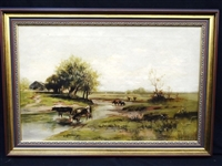 """Cows at The River"" European School Oil on Canvas"