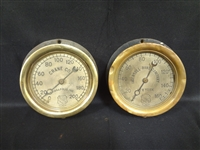 Pair of Brass Front Ashcroft Co. Steam Gauges