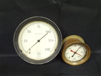Pair of Brass and Iron Steam Gauges: Ashcroft and U.S.