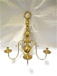 Large Brass Three Arm Candleabra