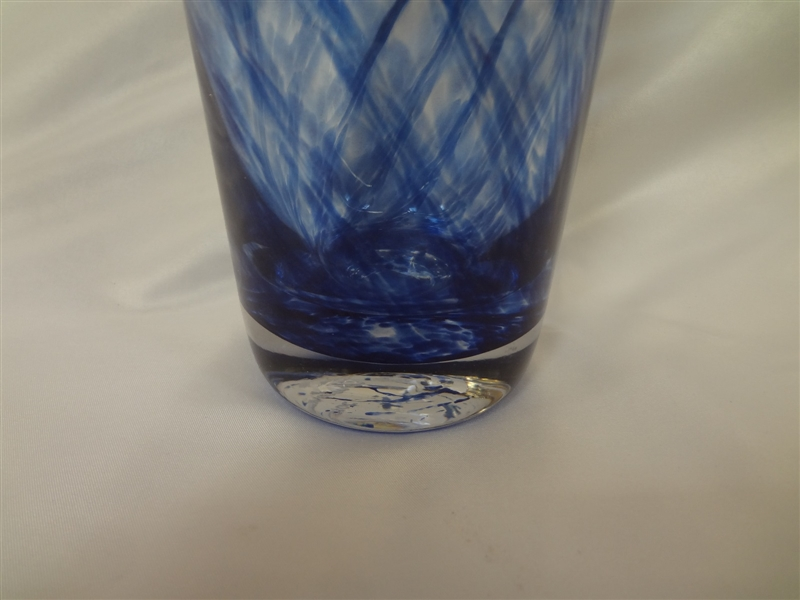 Large Oversize Swirl Art Glass Vase Signed