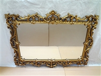 Oversize Ornate Wood Gilt Hallway Mirror