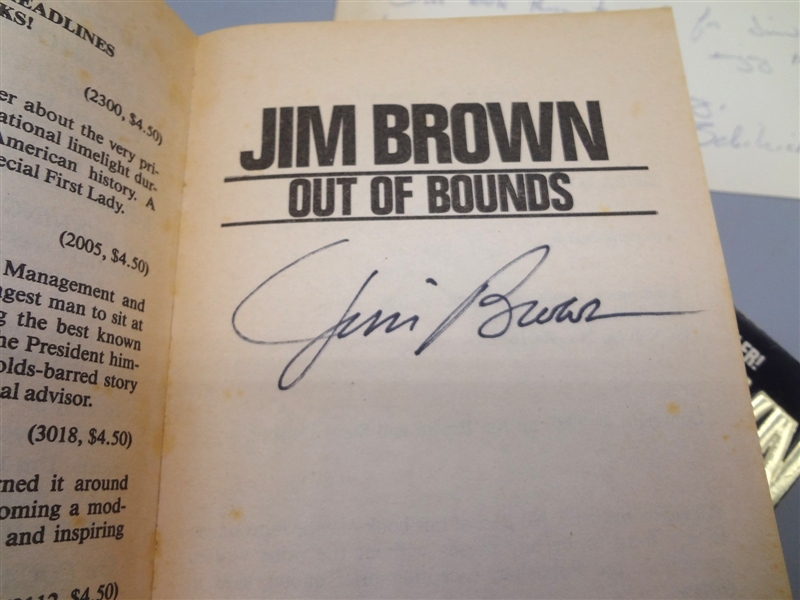 (2) Autographed Jim Brown Paperback Books Out of Bounds