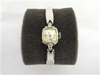 14k Gold Case Elgins Ladies Watch 6 Diamond Chips
