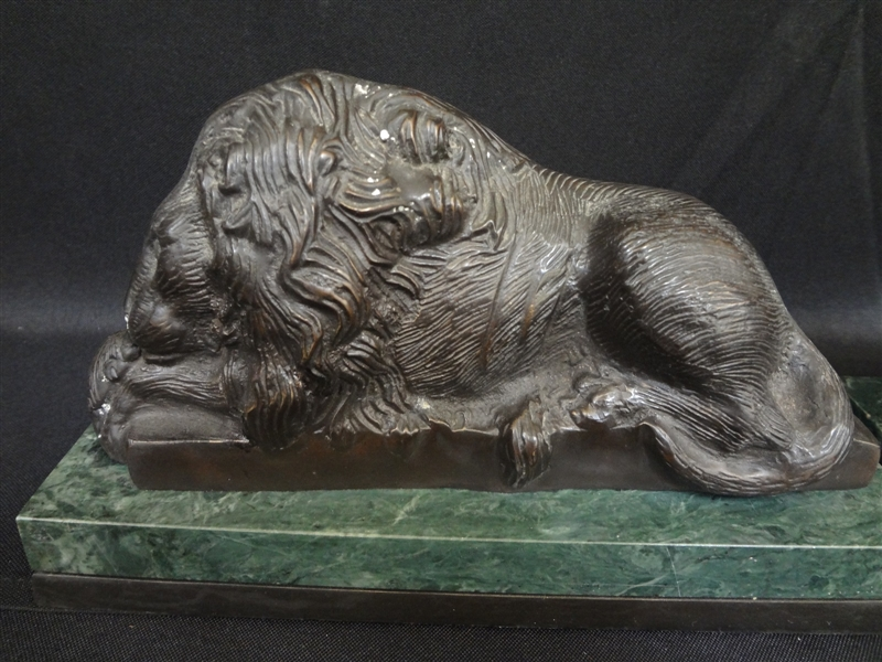 Pair of Bronze Bombay Company Lion Sculptures