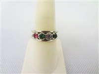 14k Gold Ring with 2 Emeralds and Red and Clear Topaz