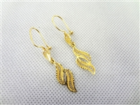 14k Gold Drop Leaf Earrings