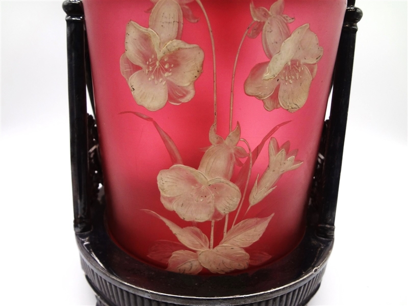 Cameo Glass Biscuit Jar With Silver Plate Lid and Handle and Base