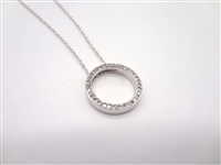 14k White Gold Necklace With Round Pendant and 35 Small Diamonds