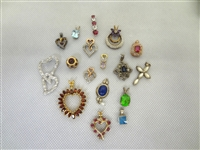 (17) Sterling Silver Small Pendants Gemstones and CZ