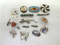 (15) Sterling Silver Brooches