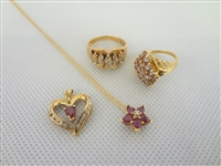 10k Gold Jewelry Group: 2 Rings, 2 Pendants, Necklace