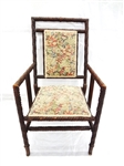 Twist Turned Wood Arm Chair Upholstered Seat and Back