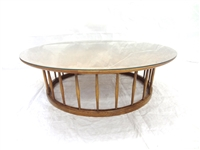 Mid Century Large Round Glass Top Coffee Table