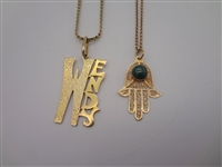 (2) 14k Gold Necklaces With Pendants