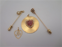 Group of 14k Gold Jewelry: Stick Pins, Pendants