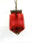 Victorian Swirl Optic Cranberry Shade Hanging Lamp