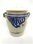 Cobalt Blue Heavily Decorated 2 Handle Crock