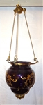 Amethyst Hanging Shade Globe With Applied Gold Accent Detail