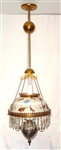 Victorian Hand Painted Floral Shade Prisms Hanging Lamp