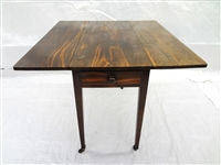 18th Century Drop Leaf Two Drawer Pembroke Table With Casters
