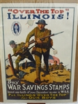 """Over The Top Illinois"" Buy War Savings Stamps World War I Poster"