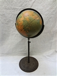 W. & A.K. Johnston Physical-Political Globe A.J. Nystrom and Co. Chicago on Cast Iron Stand
